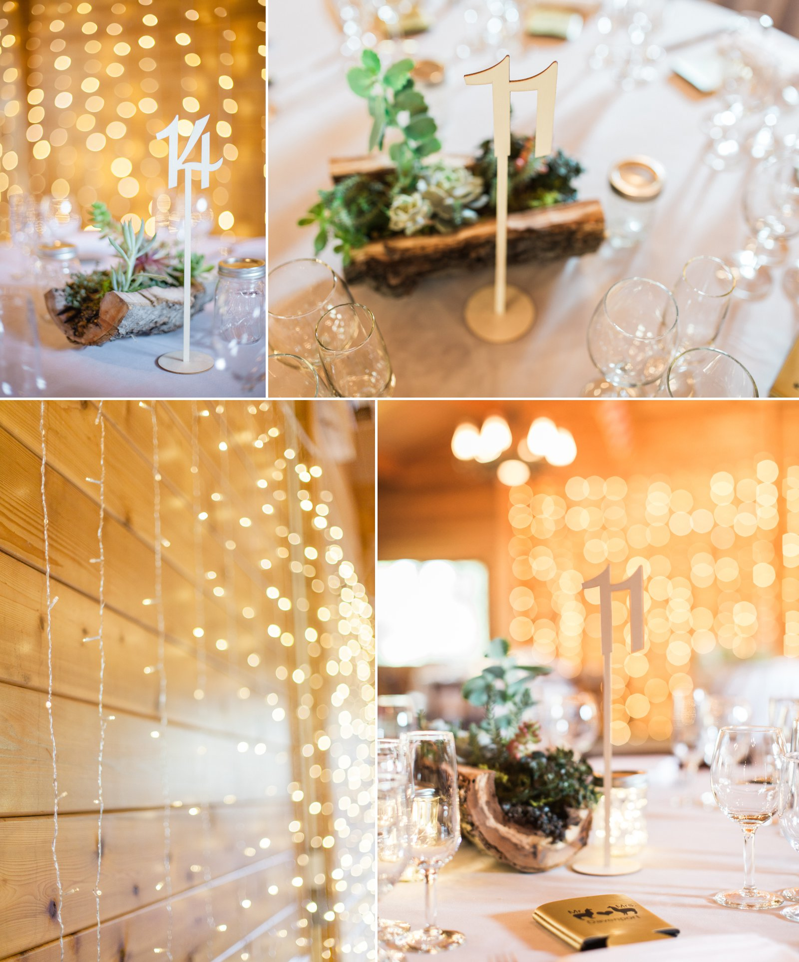 Green and gold reception elements for this Carpinteria wedding.