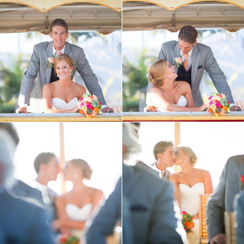 santa barbara bride and groom on trolley