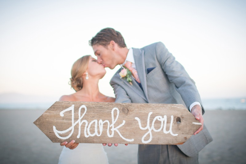 santa barbara bride and groom thank you photo