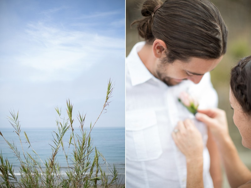 Couple preparing for their Summerland elopement.