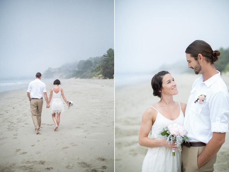 modern couple on summer land beach before their summer land beach wedding