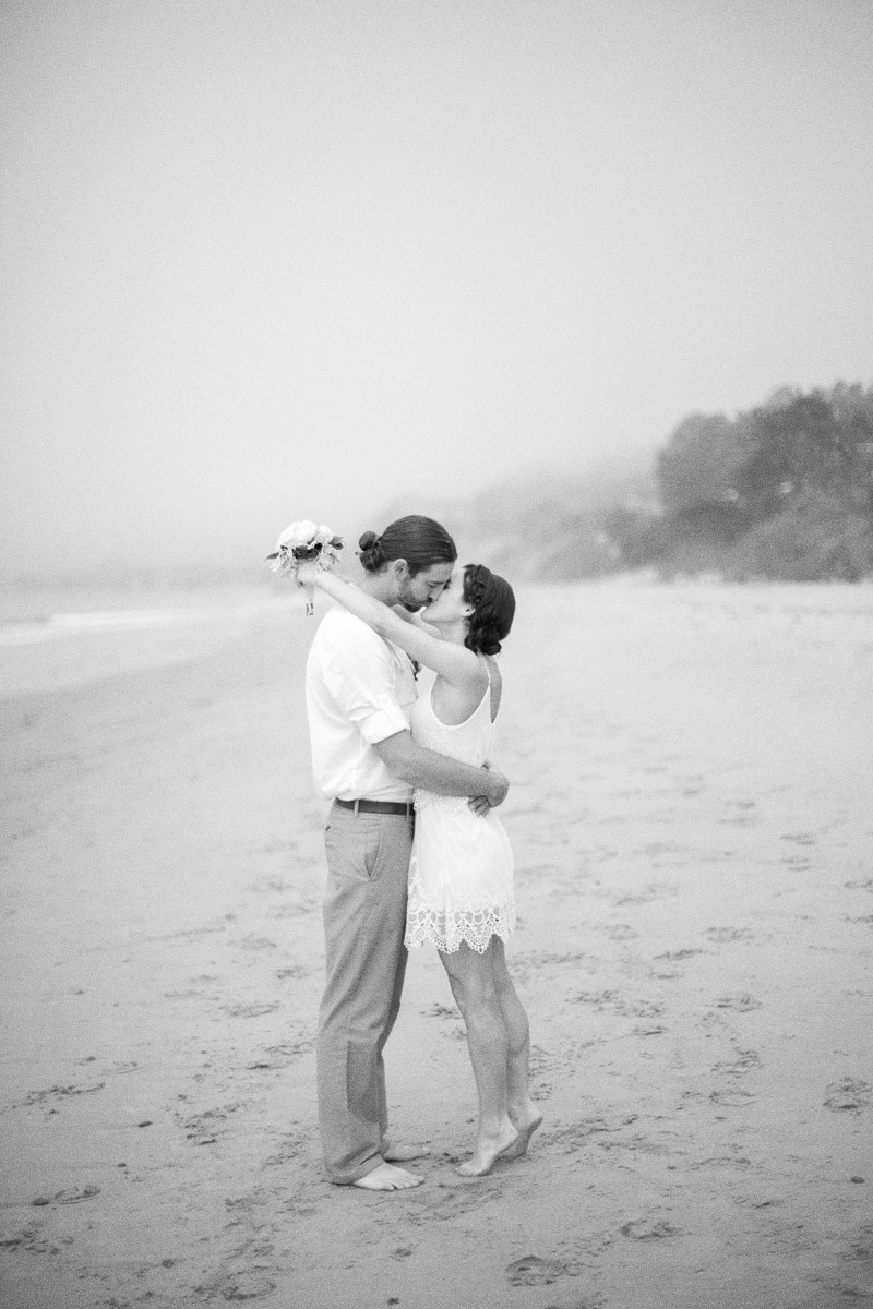 black and white bridal portrait of couple during the Summerland Beach wedding