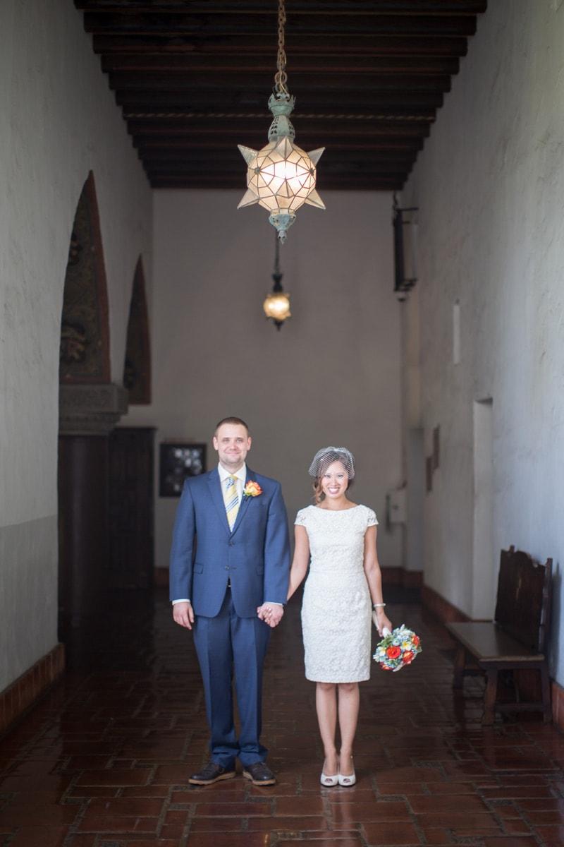 Classy Santa Barbara elopement in the mural room wedding in santa barbara
