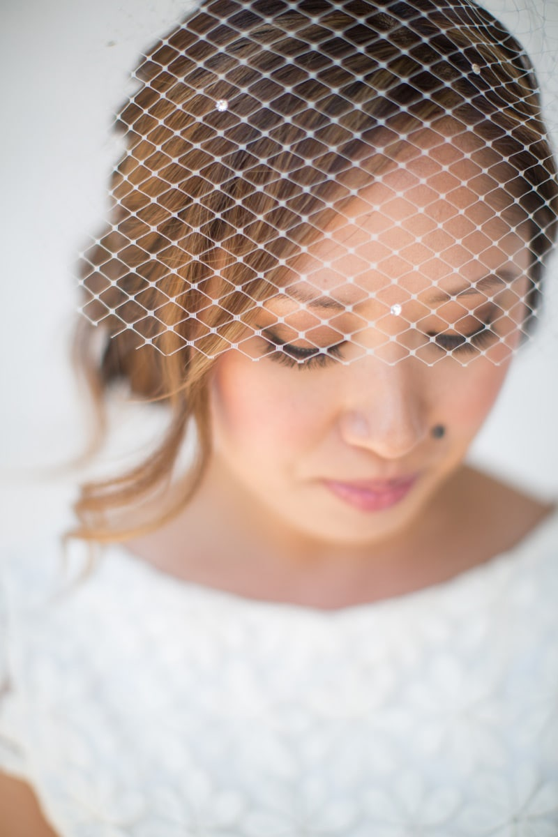Bride to be and her veil in a quite moment at her Classy Santa Barbara elopement.