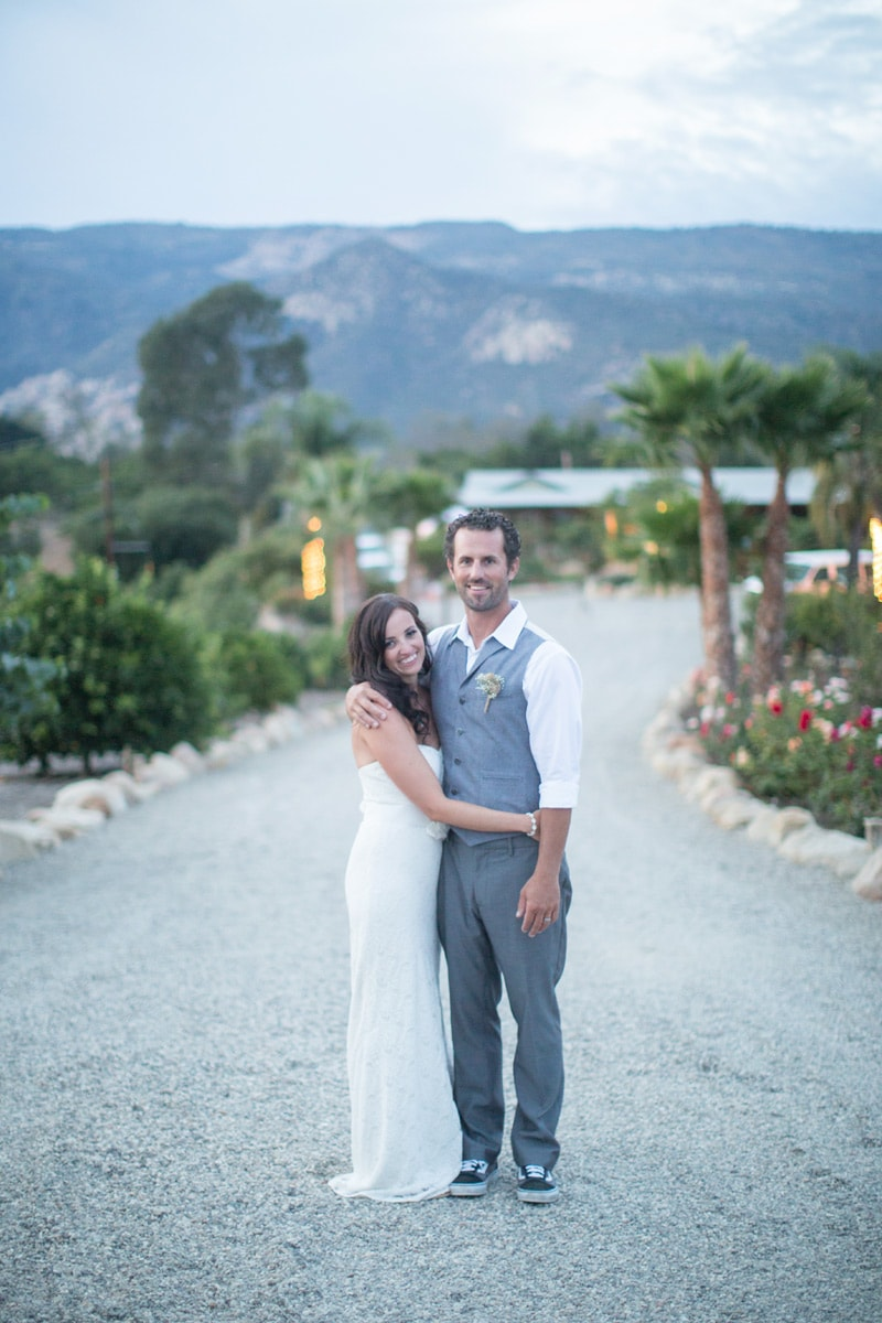 Newlywed couple at their private estate wedding in santa barbara.