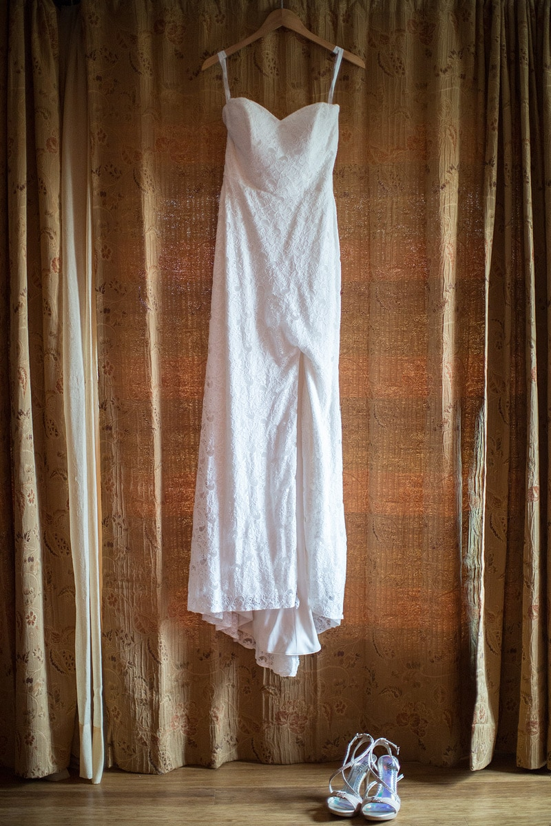 Wedding dress at a private estate wedding in santa barbara.