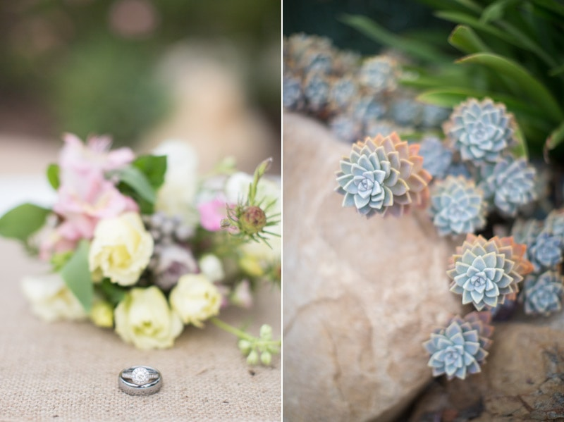 Bouquet, succulents and floral details at a private estate wedding in Santa Barbara.