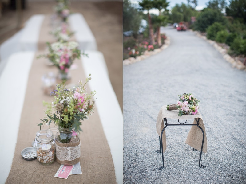 Bouquet and floral details at a rustic santa barbara wedding.
