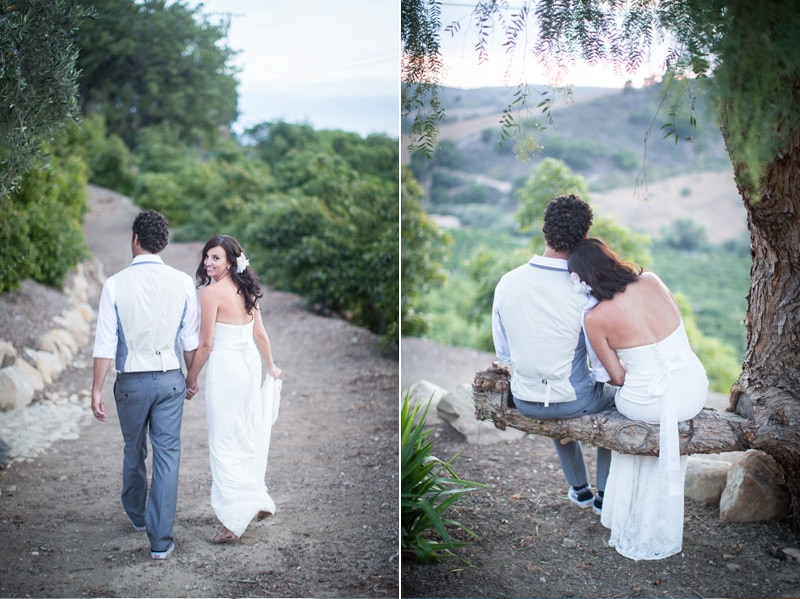 Bride and groom take a few moments alone after their private estate wedding in Santa Barbara.
