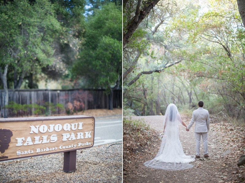 Newly weds pause for an artistic bridal portrait after their Woodsy Nojoqui Falls Elopement.