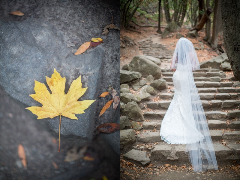 Woodsy details and an image of a bride's wedding dress during her procession towards their Woodsy Nojoqui Falls Elopement.