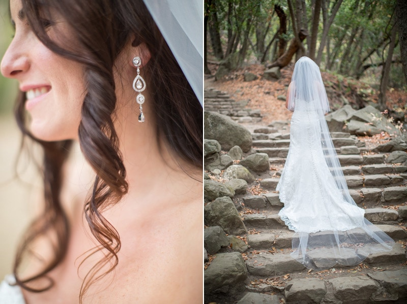 Image of a bride's earnings and wedding dress during her procession towards Elopement ceremony at Nojoqui Falls.