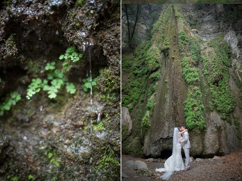 Newly weds kiss under the Nojoqui Falls water fall in Solvang.