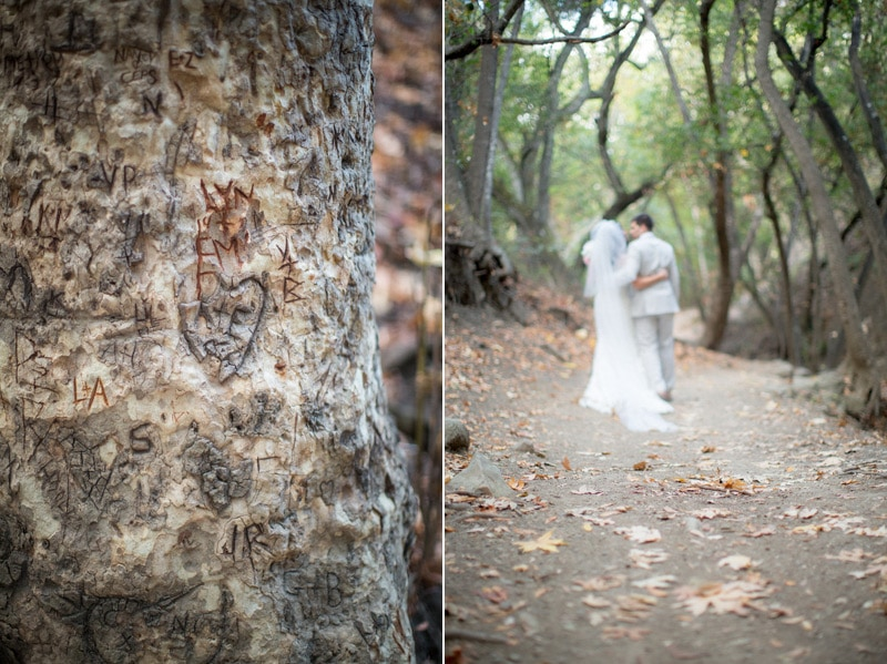 Couple found their initials carved into a tree during their Nojoqui Falls elopement.