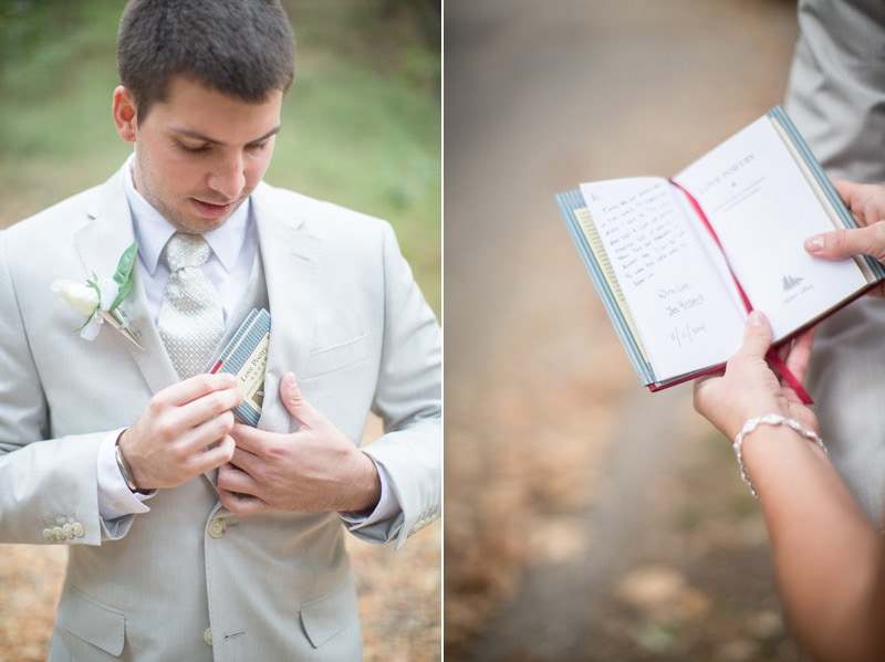 Groom gifts his bride a book of love poems for the elopement in Solvang.