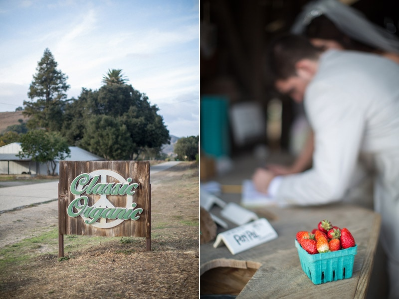 Couple signs guest book at Classic Organic farms in Solvang after their elopement.