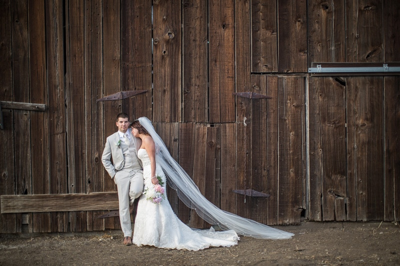 Bride & Groom pose for this casual barn image at Classic Organic farms after their wedding.