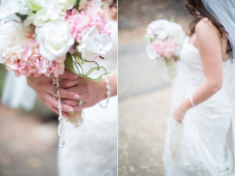 Pink and white bridal bouquet and details for a Nojoqui Falls elopement.