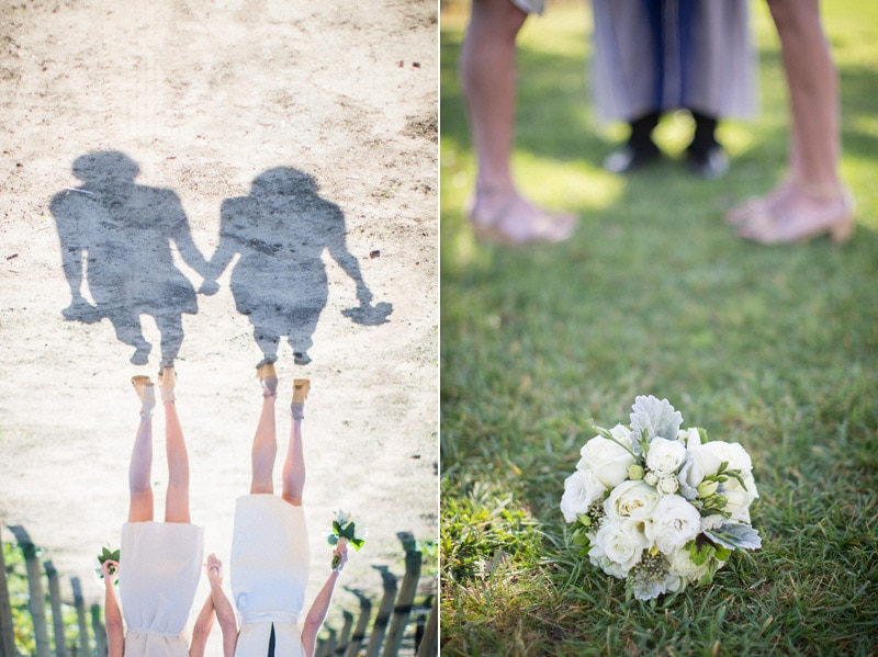 Creative silhouette and bouquet photo at a Winter elopement at Sunstone Villa in Santa Ynez.