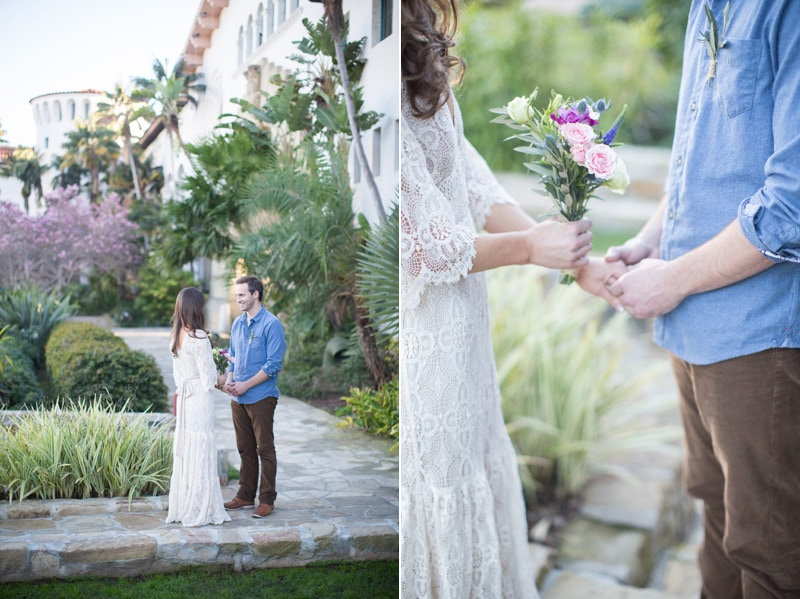 Elopement ceremony in the sunken gardens at the Santa Barbara courthouse.