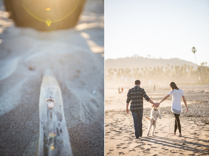 Sunset elopement session on a Santa Barbara beach.