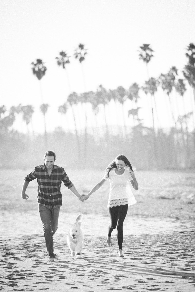 Bring your dog to your sunset elopement session on a Santa Barbara beach.