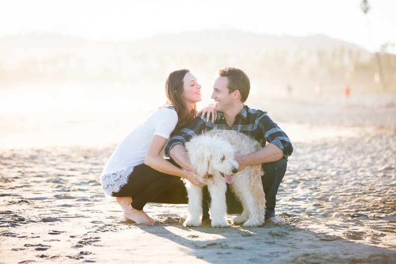 Sunset elopement photography with their dog on a Santa Barbara beach.