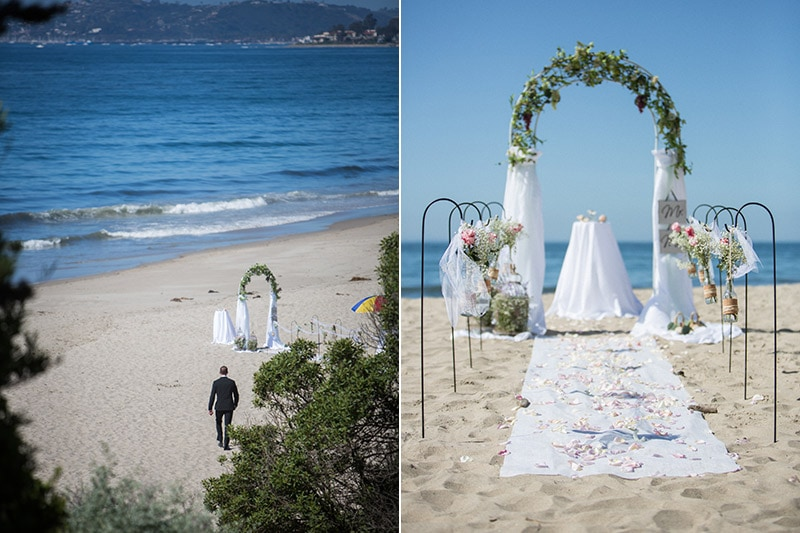 Details from a destination elopement at Summerland beach.