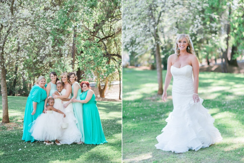 Bride & Bridal party at Whiskey Slide Ranch before a Summer Gold Country Wedding.