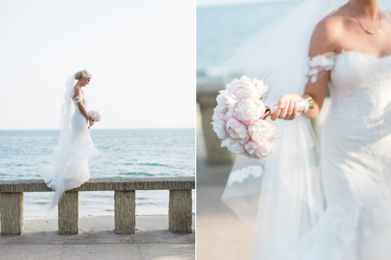 bride and bouquet at Four Seasons wedding in Santa Barbara