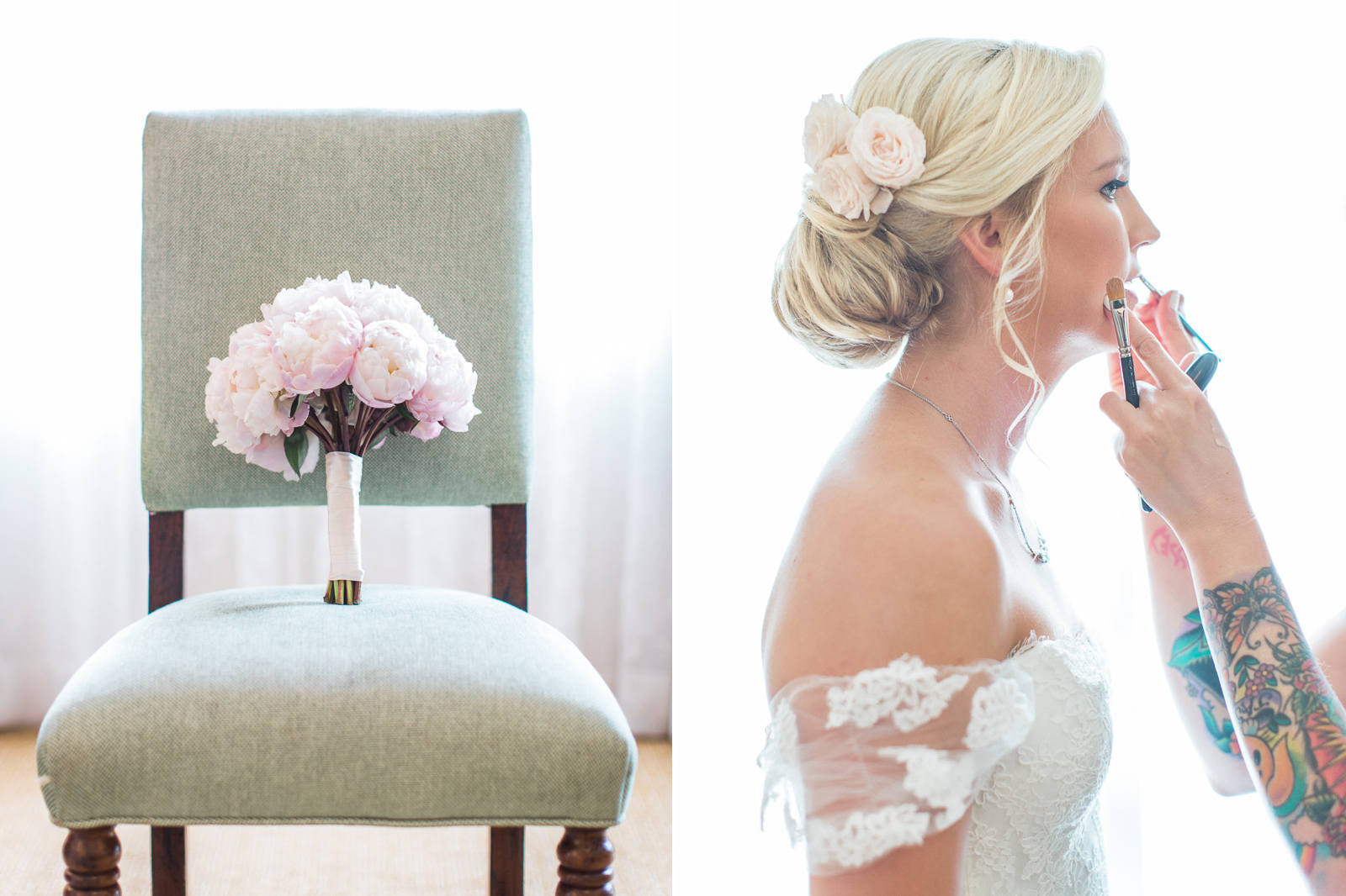 Bridal bouquet and make-up at Four Seasons Santa Barbara