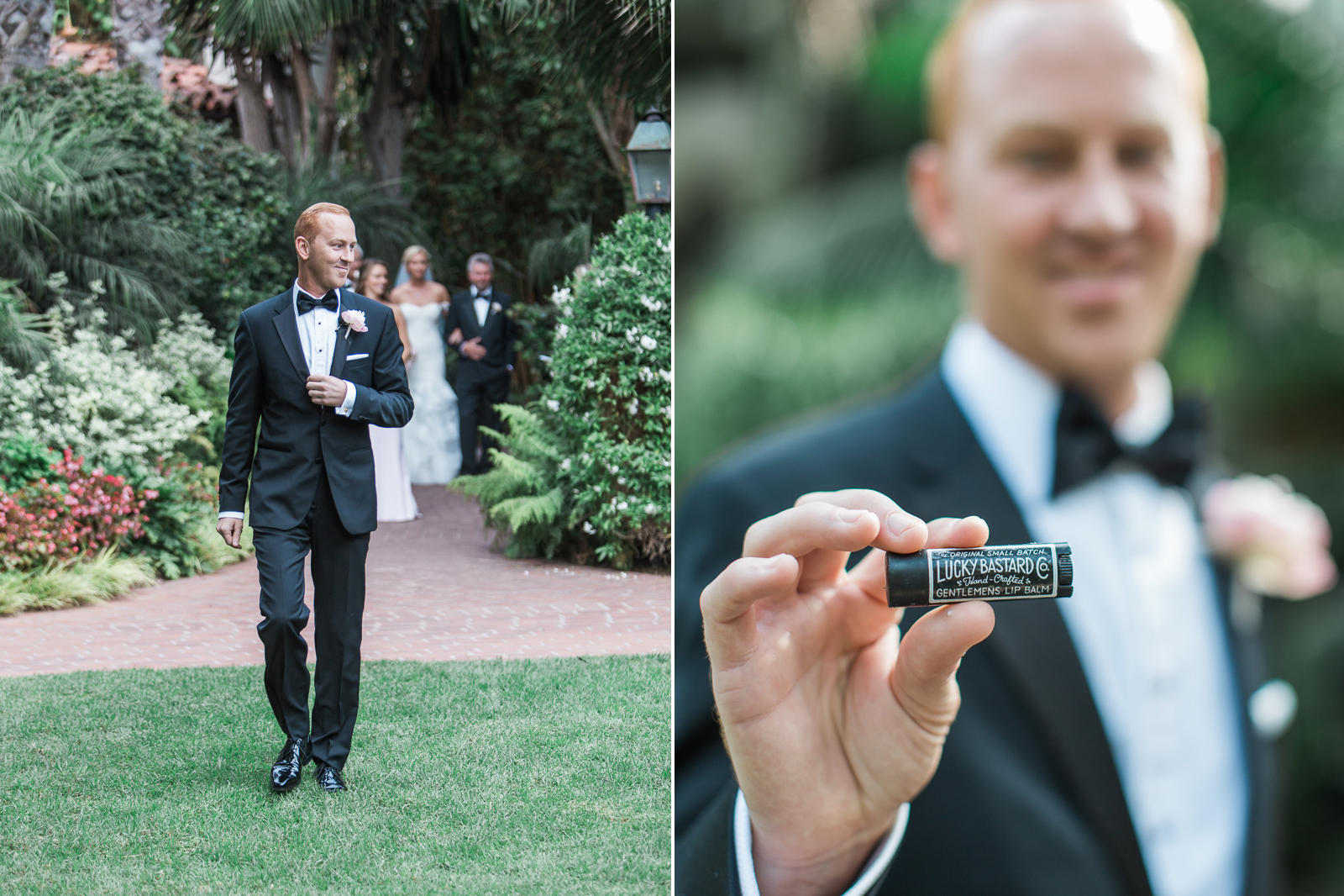 Groom with his Lucky Bastard gifts before Four Seasons Wedding in Santa Barbara