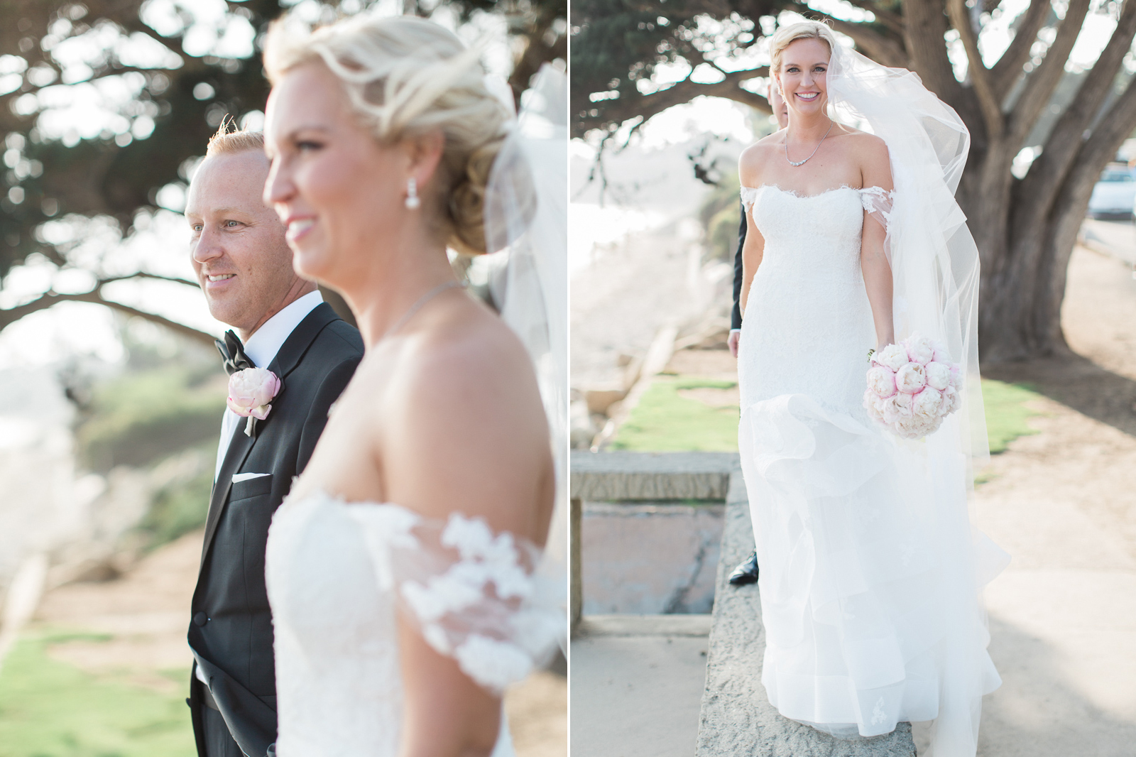 Bride and groom on the beach during Santa Barbara wedding at the Four Seasons Biltmore