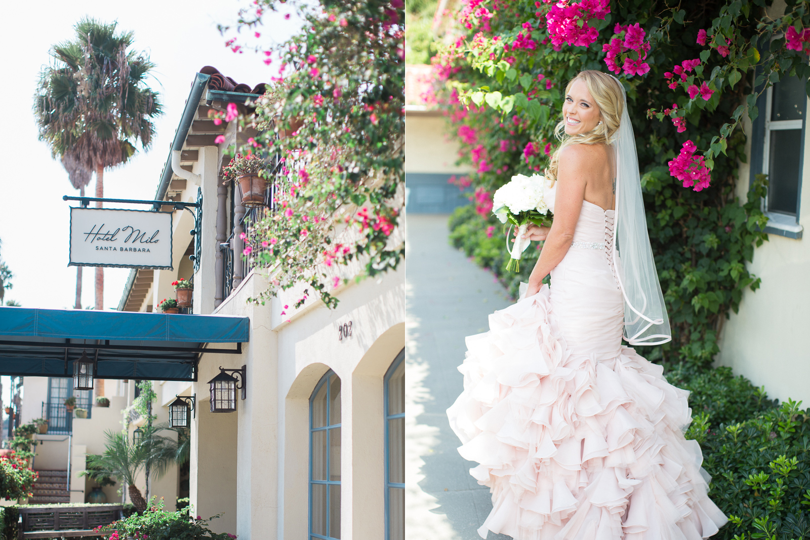 Bride and her bouquet on her wedding day at Hotel Milo in Santa Barbara