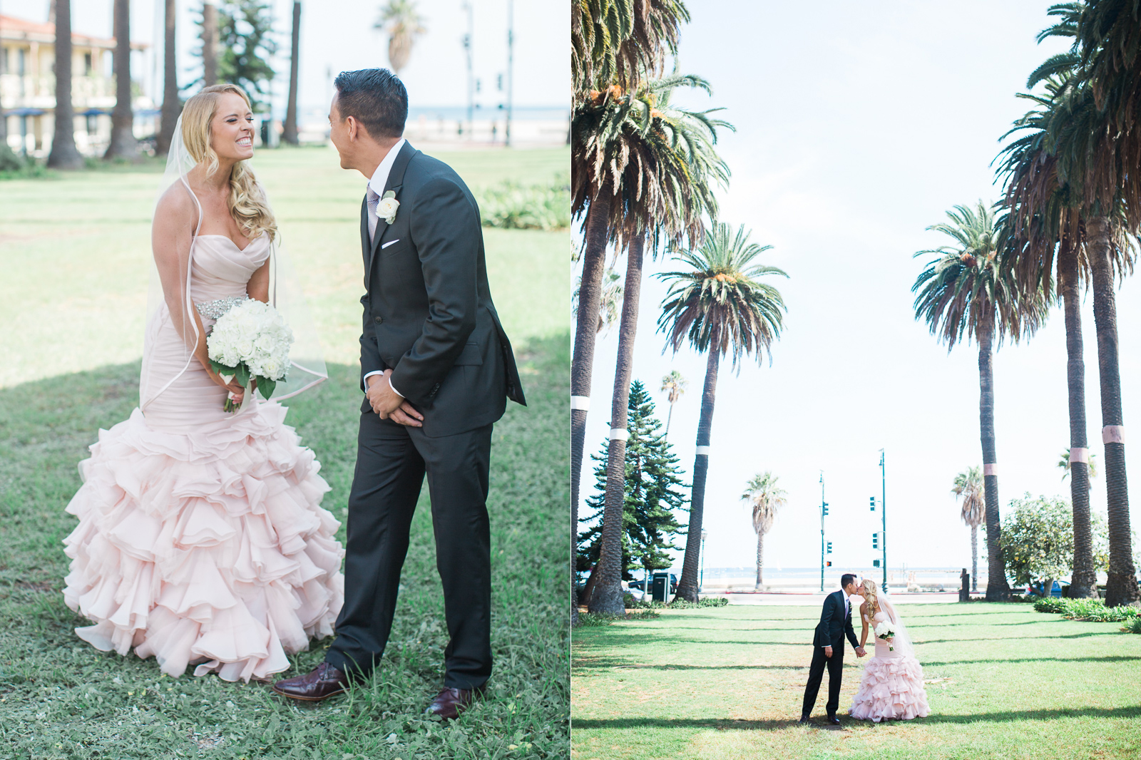 First look before their wedding at Alice Keck Park
