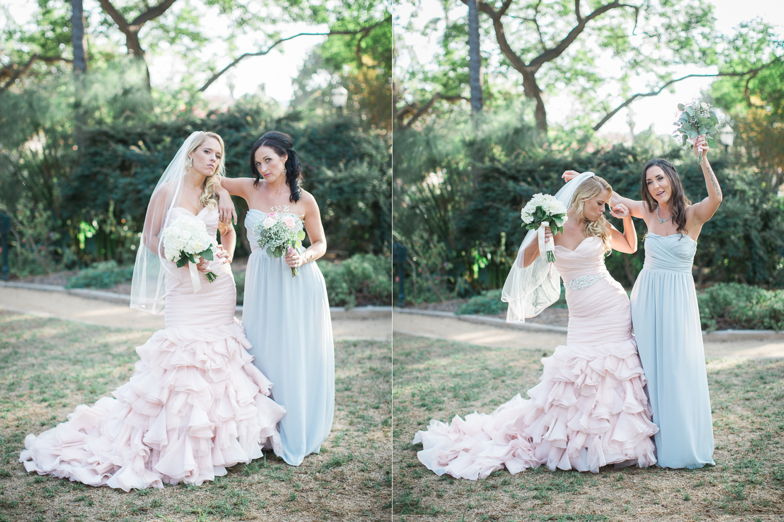 Bride having fun with Bridesmaids at Alice Keck park on her wedding day
