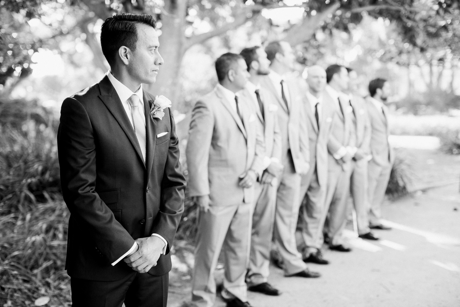 Groom waits for his bride at Alice Keck wedding ceremony