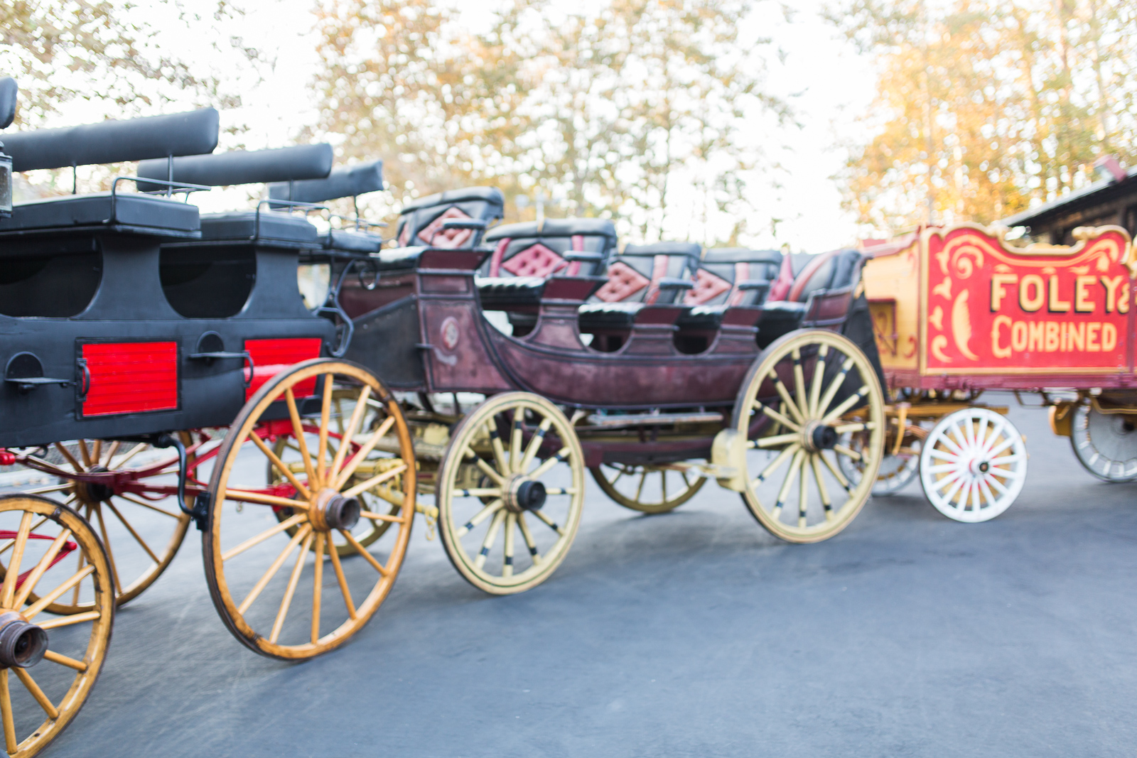 Waggons at old carriage museum wedding reception