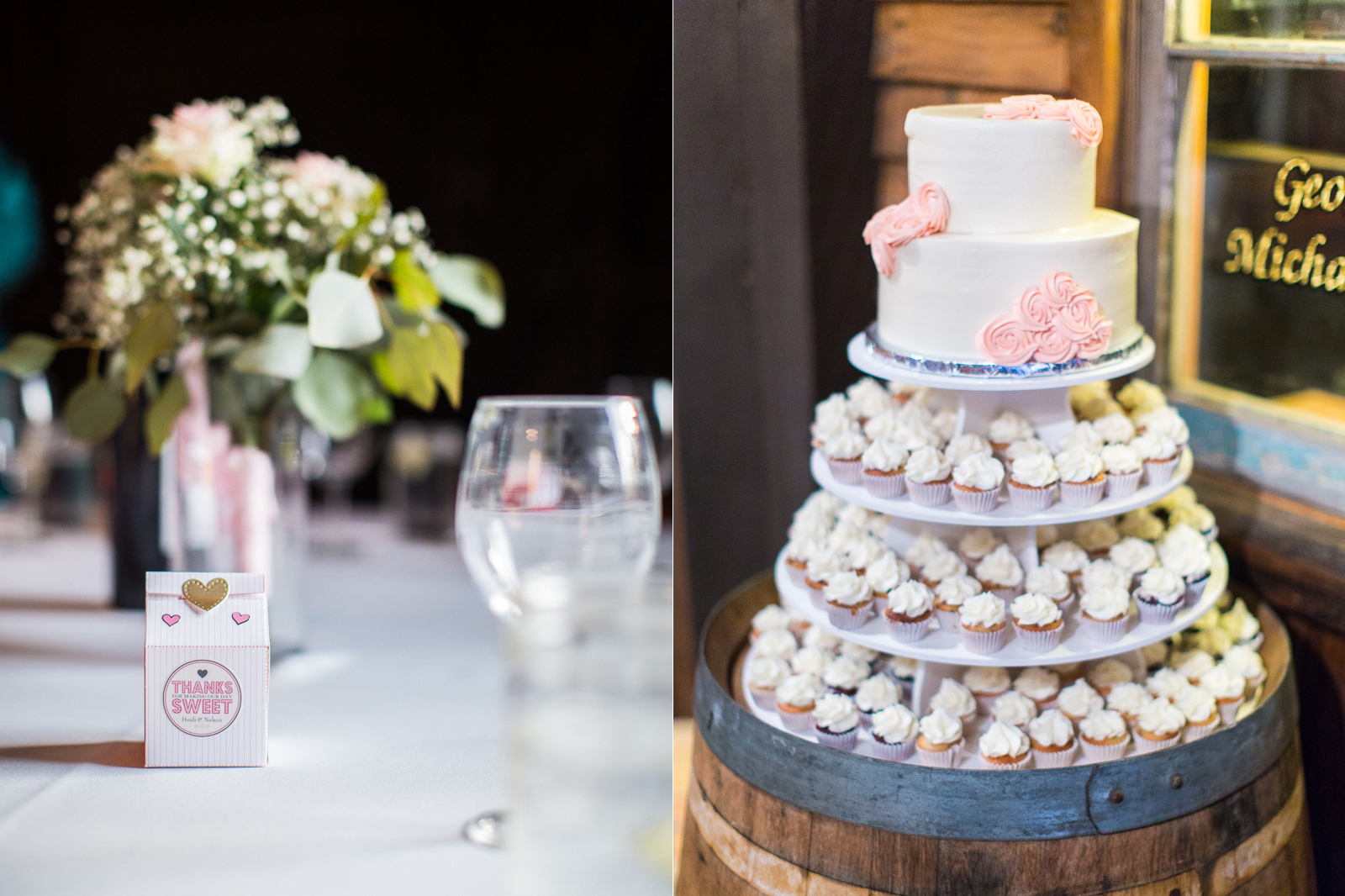 Wedding cake and favors at old carriage museum wedding in Santa Barbara.