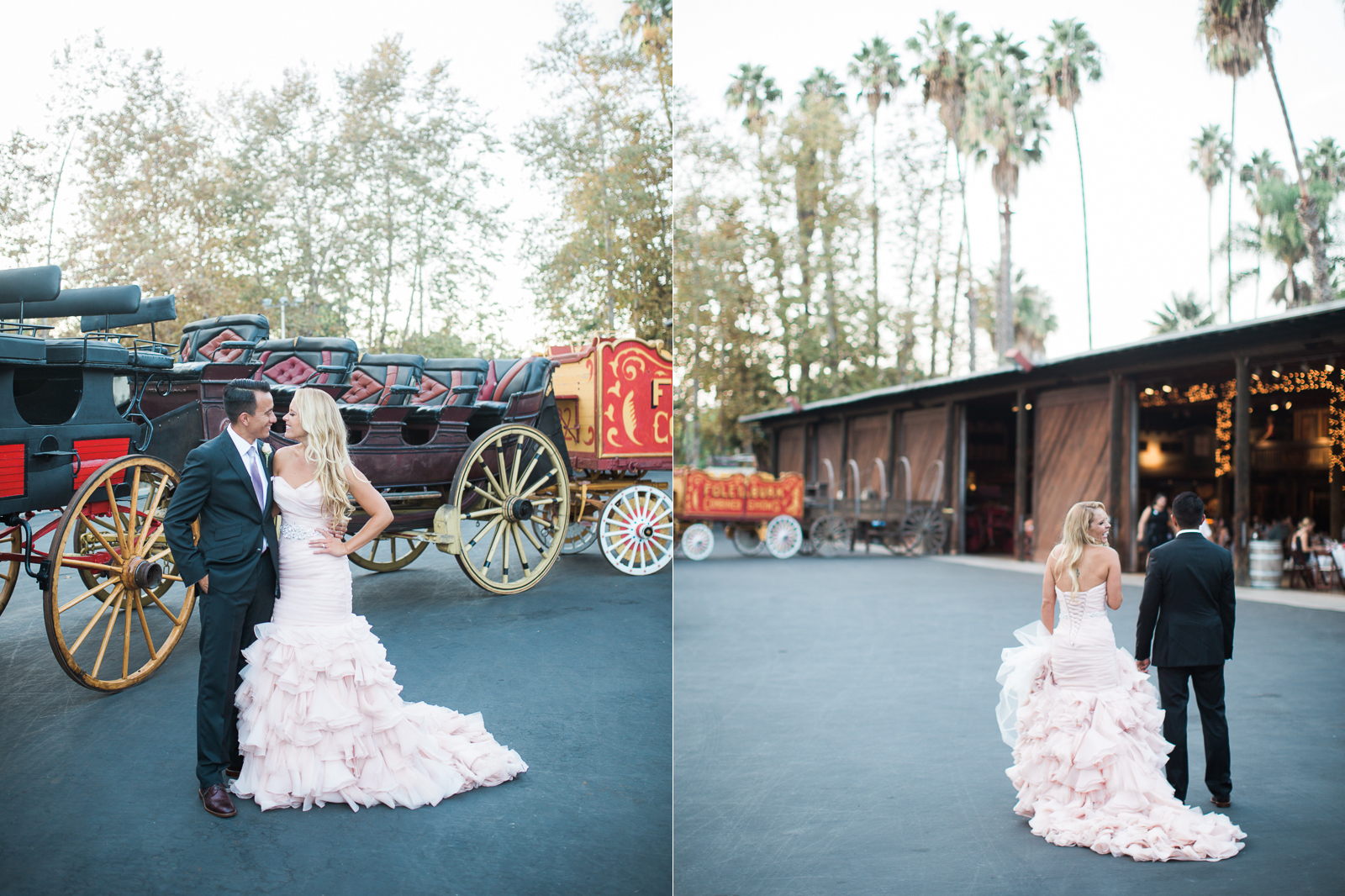Bride and groom during portrait session at Old Carriage Museum wedding reception.