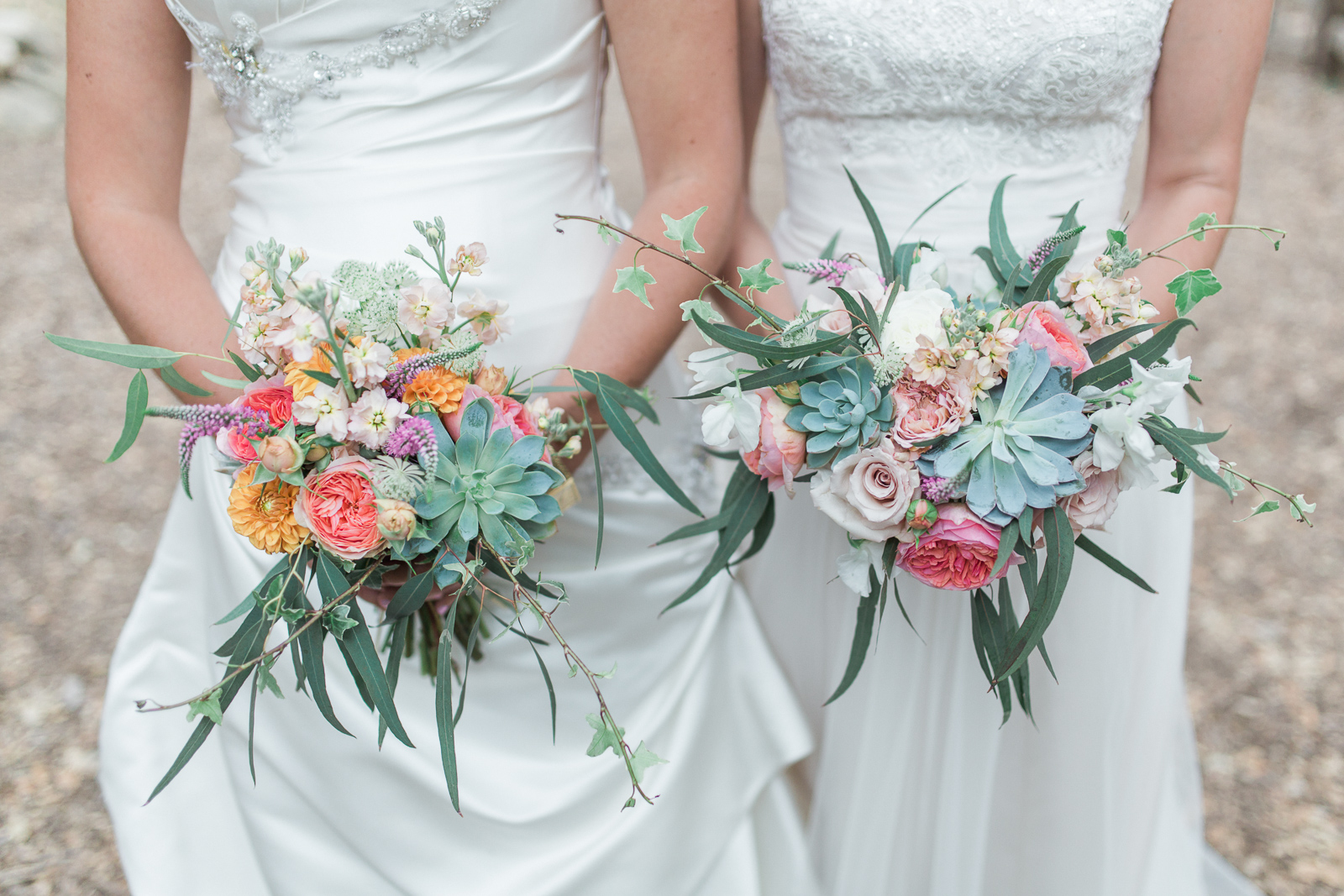 brides and their bouquets at their Natural History Museum Wedding in santa barbara