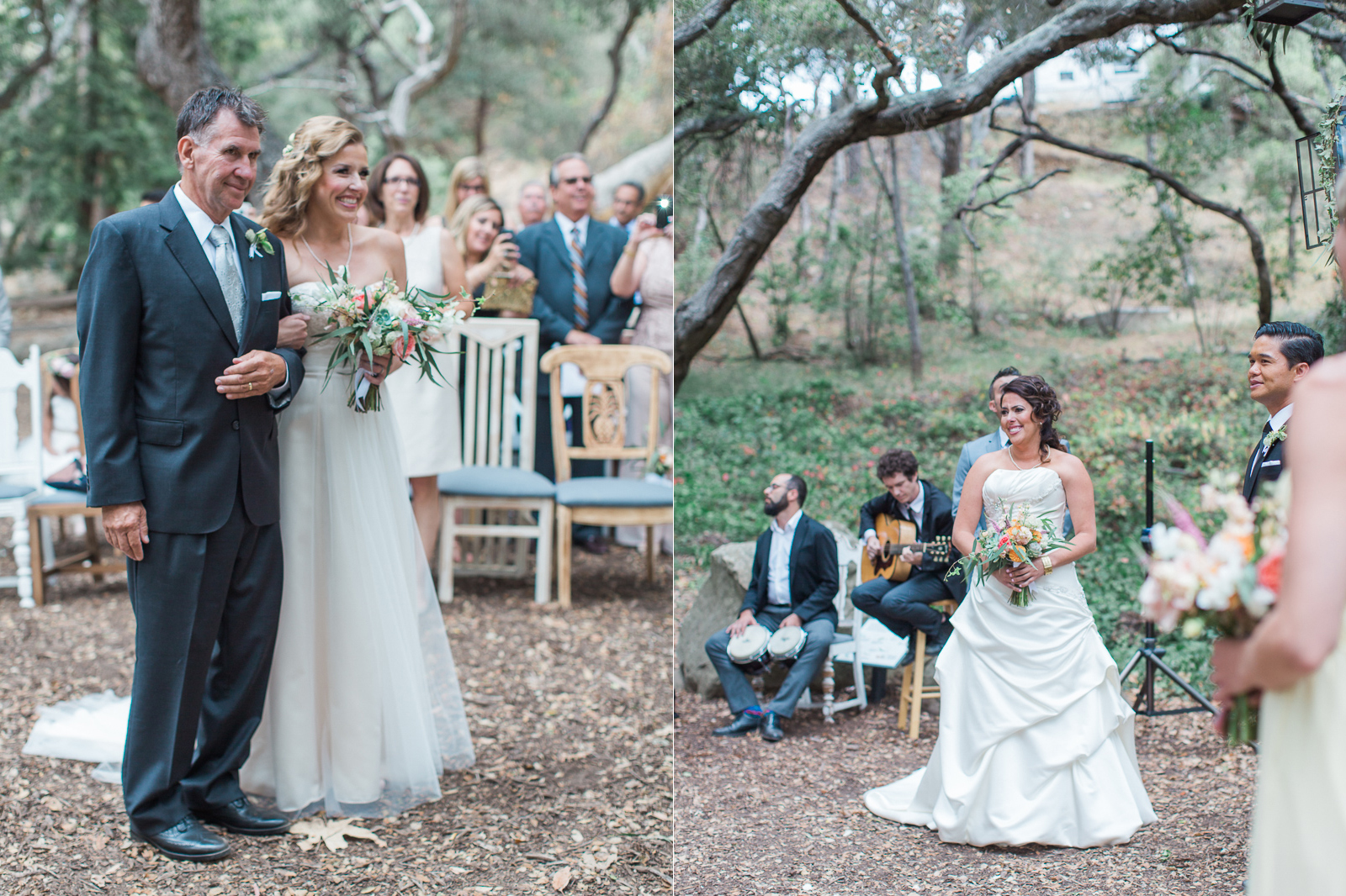 Two brides see each other during first look at their wedding ceremony - gay wedding
