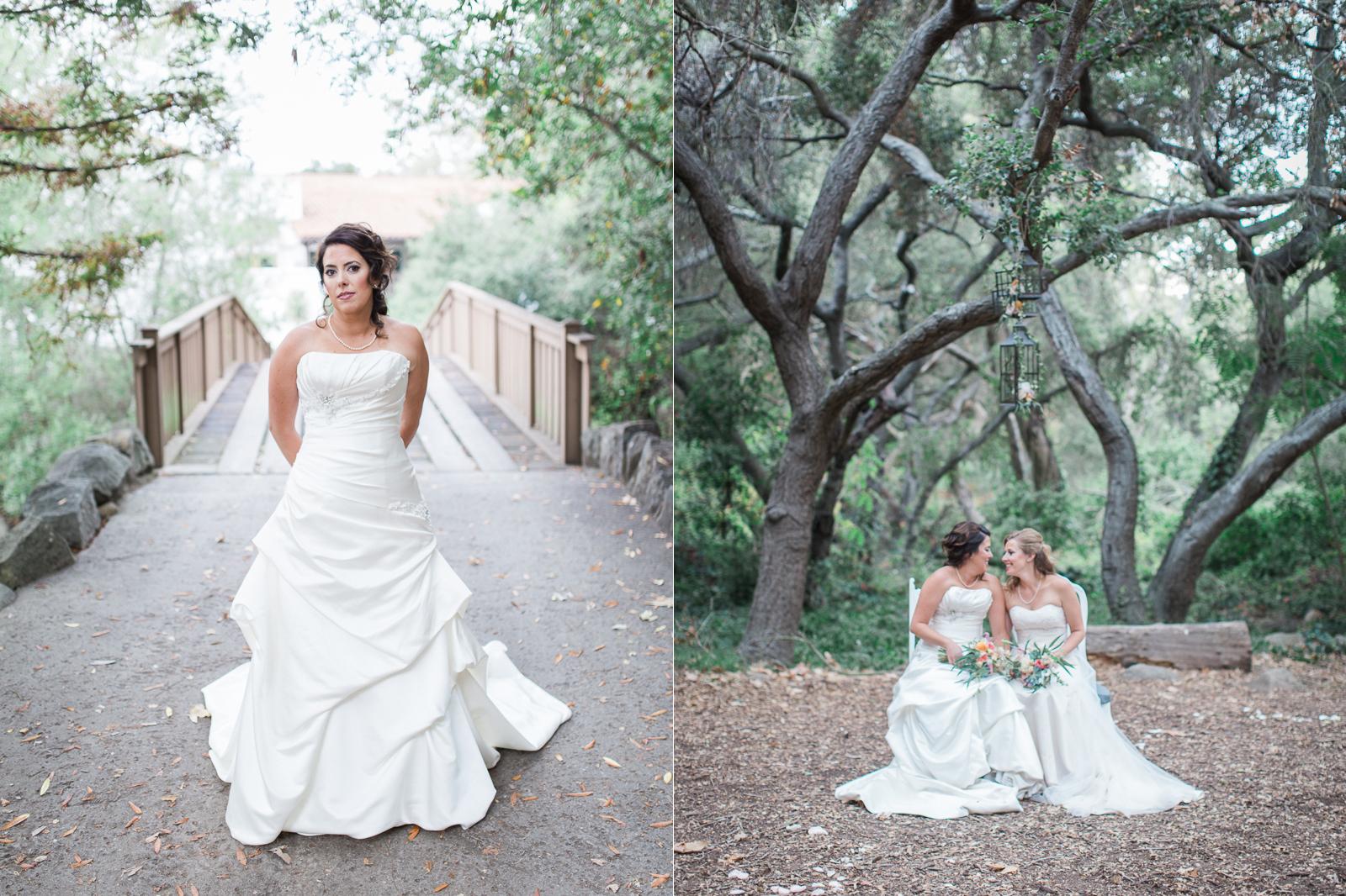 Beautiful bridal portrait of two brides on their wedding day in Santa barbara - gay weddings