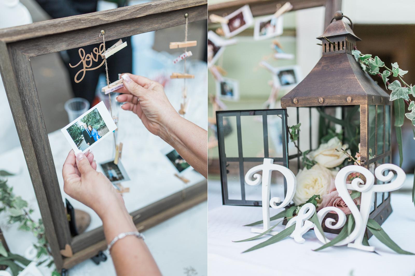 Rustic photo and detail display at Santa Barbara reception