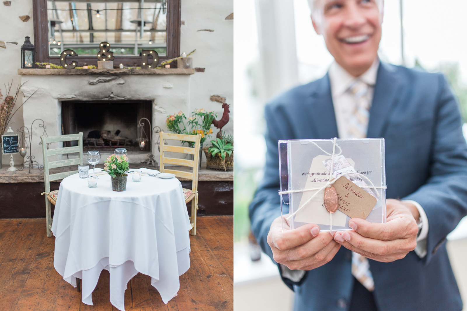 Decor and a mix tape gift for the wedding guests at Stella Mare's