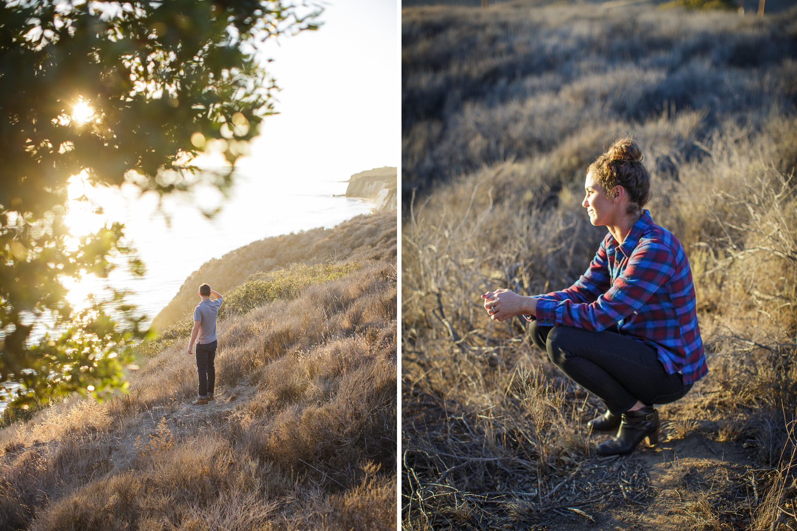 Gaviota coast engagement at sunset on the bluffs