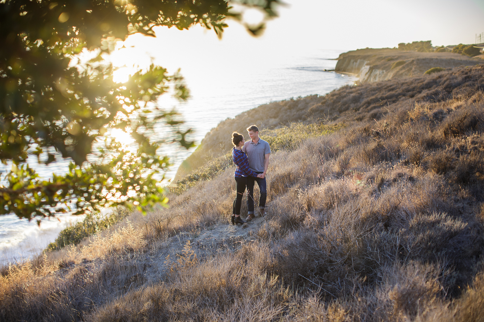 Beautiful California coast engagement at sunset on the Gaviota Bluffs
