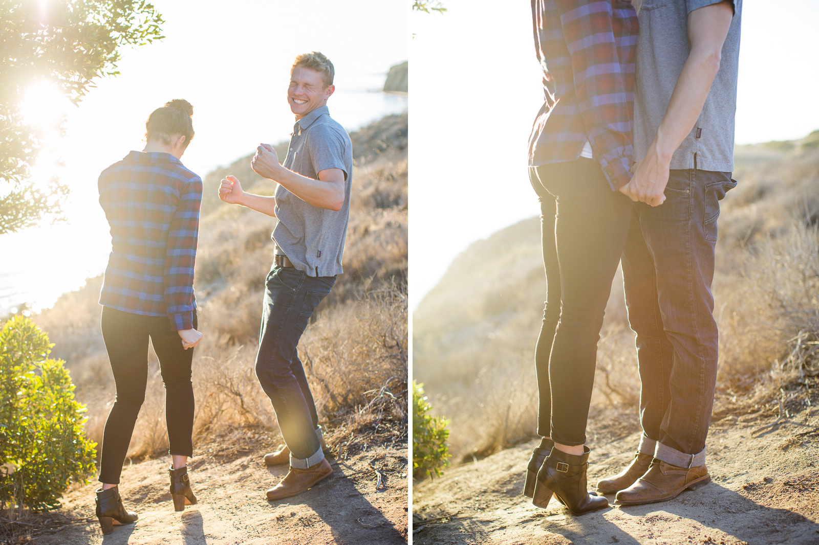 Fun California coast engagement at sunset on the Gaviota Bluffs