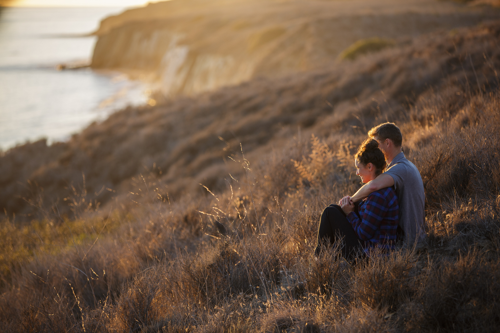 Intimate California coast engagement on the Gaviota Bluffs