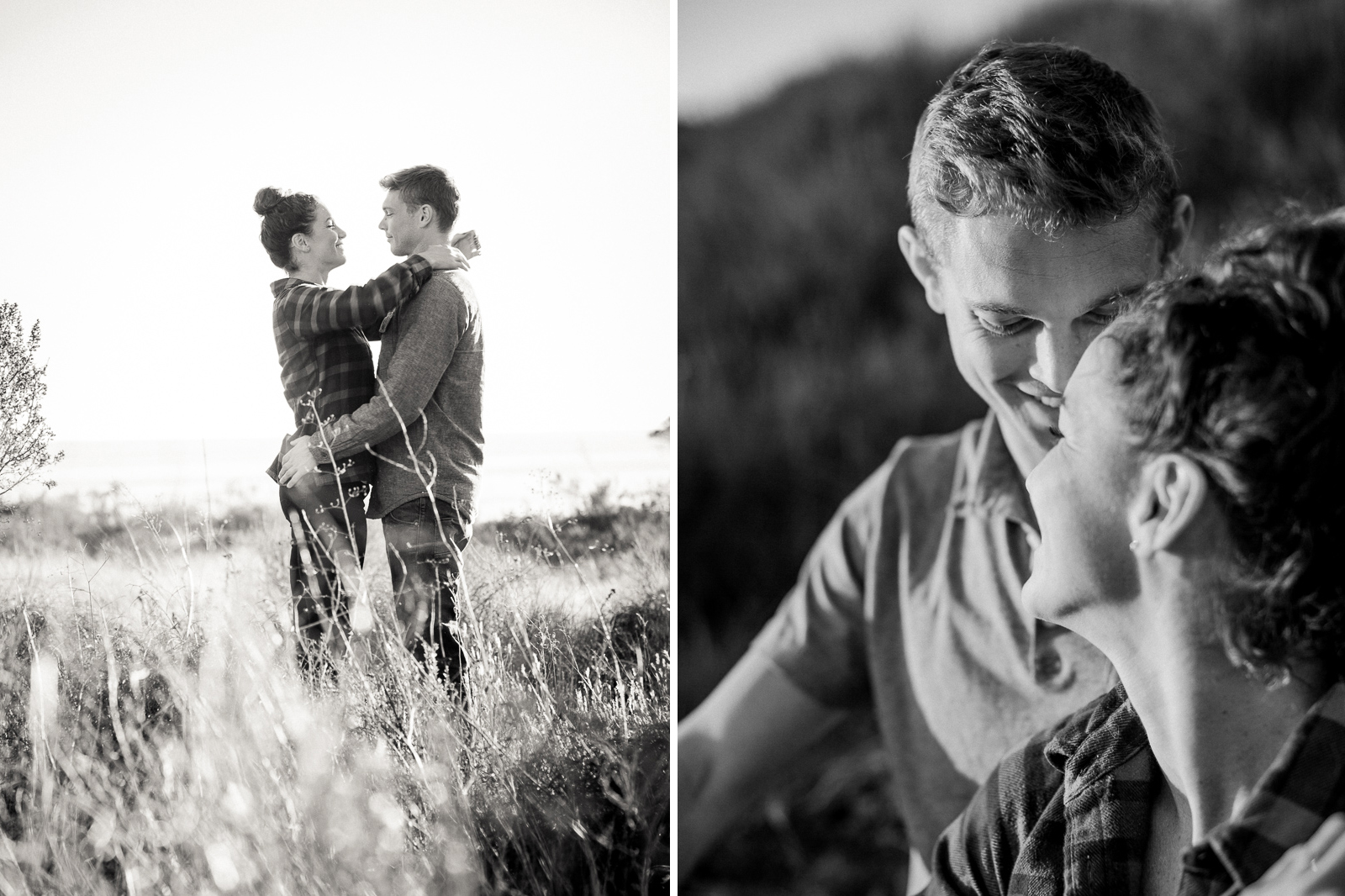 Black and white California coast engagement on the Gaviota Bluffs